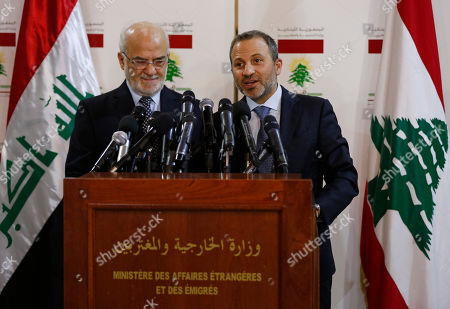 Stock Image of Ibrahim al-Jaafari, Gibran Bassil. Lebanese Foreign Minister Gibran Bassil, right, speaks during a press conference with his Iraqi counterpart Ibrahim al-Jaafari, in Beirut, Lebanon
