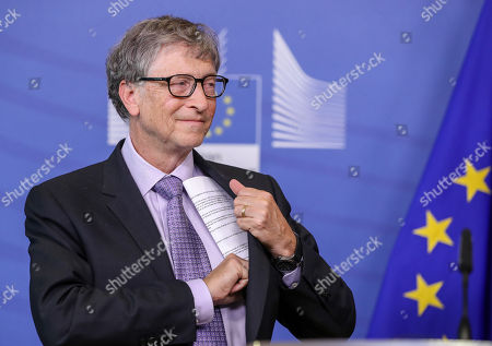 Microsoft founder and co-founder of the Bill and Melinda Gates Foundation and chairman of Breakthrough Energy Ventures Bill Gates during a signing ceremony with European Commission Vice-President for Energy Union Maros Sefcovic (unseen), EU Commissioner responsible for Research, Science and Innovation, Portuguese, Carlos Moedas (unseen) to establish the Breakthrough Energy Europe investment fund at the European Commission in Brussels, Belgium, 17 October 2018.