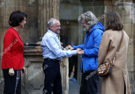 Italian alpinist Reinhold Messner (2-R) greets Polish mountaineer Krzysztof Wielicki (2-L) upon arrival in Oviedo, Spain, 17 October 2018. Messner will receive the Princess of Asturias Award for Sports on 19 October 2018. The Princess of Asturias Awards are given every year to personalities or organizations from all around the world who make significant achievements in the sciences, arts, literature, humanities and sports.