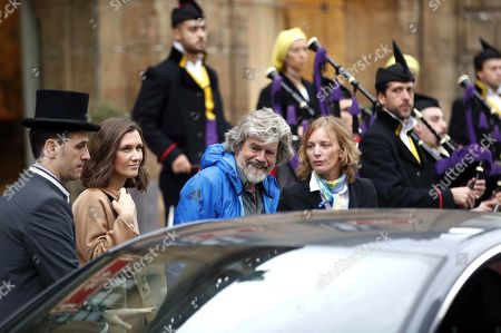 Italian alpinist Reinhold Messner (C) upon arrival in Oviedo, Spain, 17 October 2018. Messner will receive the Princess of Asturias Award for Sports on 19 October 2018. The Princess of Asturias Awards are given every year to personalities or organizations from all around the world who make significant achievements in the sciences, arts, literature, humanities and sports.