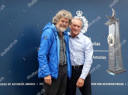 Italian alpinist Reinhold Messner (L) poses with Polish mountaineer Krzysztof Wielicki (R) upon arrival in Oviedo, Spain, 17 October 2018. Messner will receive the Princess of Asturias Award for Sports on 19 October 2018. The Princess of Asturias Awards are given every year to personalities or organizations from all around the world who make significant achievements in the sciences, arts, literature, humanities and sports.
