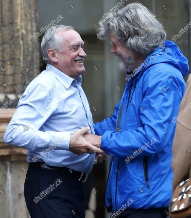 Italian alpinist Reinhold Messner (R) greets Polish mountaineer Krzysztof Wielicki (L) upon arrival in Oviedo, Spain, 17 October 2018. Messner will receive the Princess of Asturias Award for Sports on 19 October 2018. The Princess of Asturias Awards are given every year to personalities or organizations from all around the world who make significant achievements in the sciences, arts, literature, humanities and sports.