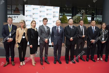 (L-R) Jerome Delhaye (director of entertainment division Reed Midem), Claire-Anne Reix (president SEMEC), staff, Nikita Gusakov (vise-president of russian export center, director of the russian agency for export credit and investment insurance EXIAR), Paul Zilk (Reed MIDEM chief executive), Fan Weiping (vice minister NRTA), David Lisnard (Mayor of Cannes), Li Shaoping (minister counsellor the embassy of china in france), Aurore Berge (member of parliament french assembly-commission of cultural affaire), inauguration MIPCOM (International Market of Communications Programmes) at Palais des Festivals et des Congres, Cannes