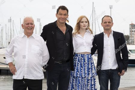 """(L-R) Andrew Davies (screenwriter), Dominic West (actor), Ellie Bamber (actress), Tom Shankland (director) for the film """"Les Miserables"""""""