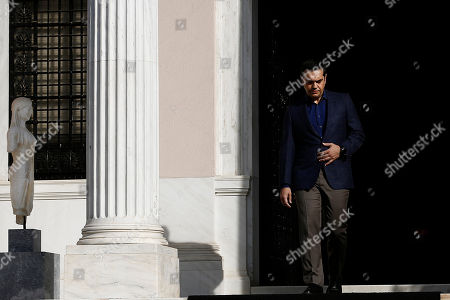 Greek Prime Minister Alexis Tsipras exits his office, Maximos Mansion, to make statements to the press after the resignation of Foreign Minister Nikos Kotzias (not pictured), in Athens, 17 October 2018. Tsipras thanked Kotzias warmly for his contribution to the government and the country in the last 3.5 years. The Prime Minister also announced that he will be taking over the leadership of the foreign ministry in order to assist in the successful conclusion of the Prespes Agreement.