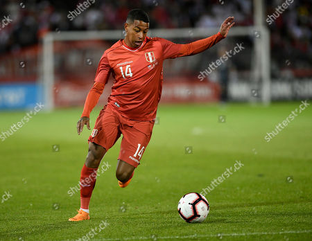 Peru's Andy Polo (14) during the first half of an international friendly soccer match in East Hartford, Conn
