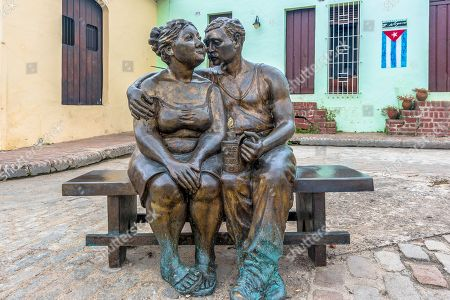 Plaza 'El Carmen' life sized bronze statues urban art. The area is a major tourist attraction in the Unesco World Heritage City.