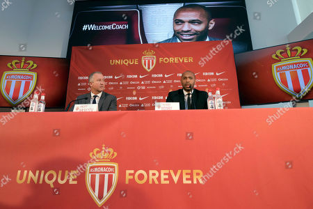 New AS Monaco head coach Thierry Henry, right, and AS Monaco Vice President Vadim Vasilyev answer questions during his official media presentation at the Monaco Yacht Club, . France's all-time leading scorer and an Arsenal great landed his first managerial job on Saturday after Monaco hired him as a replacement for Leonardo Jardim, who was dismissed this week
