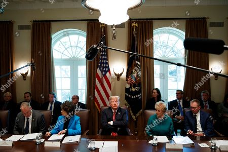 Donald Trump, Linda McMahon, Mick Mulvaney, Ryan Zinke, Elaine Chao. President Donald Trump listens during a cabinet meeting in the Cabinet Room of the White House, in Washington. From left, Secretary of the Interior Ryan Zinke, Secretary of Transportation Elaine Chao, Trump, Small Business Administration administrator Linda McMahon, and Director of the Office of Management and Budget Mick Mulvaney