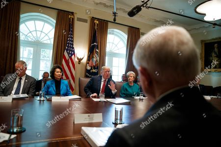 Donald Trump, Elaine Chao, Linda McMahon, Ryan Zinke. President Donald Trump speaks during a cabinet meeting in the Cabinet Room of the White House, in Washington. From left, Secretary of the Interior Ryan Zinke, Secretary of Transportation Elaine Chao, Trump, and Small Business Administration administrator Linda McMahon