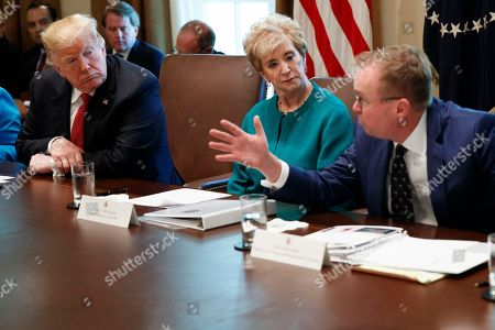 Donald Trump, Linda McMahon, Mick Mulvaney. President Donald Trump, left, and Small Business Administration administrator Linda McMahon, center, listen as Director of the Office of Management and Budget Mick Mulvaney speaks during a cabinet meeting in the Cabinet Room of the White House, in Washington