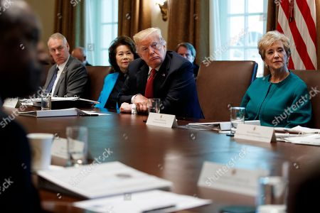 Donald Trump, Ryan Zinke, Linda McMahon, Elaine Chao. President Donald Trump listens during a cabinet meeting in the Cabinet Room of the White House, in Washington. From left, Secretary of the Interior Ryan Zinke, Secretary of Transportation Elaine Chao, Trump, and Small Business Administration administrator Linda McMahon