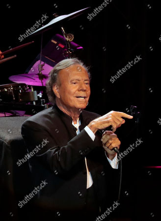 Spanish singer Julio Iglesias performs during his jubilee concert at the State Kremlin palace in Moscow, Russia, 17 October 2018. Iglesias is marking 50 years of his singing career.