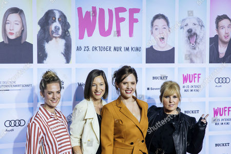 (L-R) German actress Marie Burchard, German actress Johanna Wokalek, British actress Emily Cox and Irish singer Maite Kelly arrive for the German film premiere of 'Wuff' at the Zoo palast cinema in Berlin, Germany, 17 October 2018. The movie by German director Detlev Buck opens in German cinemas on 25 October 2018.
