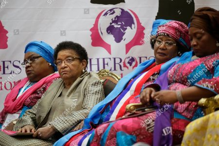 Former Liberian President, Ellen Johnson Sirleaf (2nd-L), Former vice president of Zimbabwe, Joice Mujuru (L), Former president of Malawi, Joyce Banda (2nd-R) and Jowel Howard-Taylor (R) Vice president of Liberia attend the official opening of the International Sheroes Forum 2018 at the Monrovia City Hall, Monrovia, Liberia, 17 October 2018. The International Sheroes Forum brings together leaders and personalities to discusses and bolster the influence of women on the African Continent and the World in general.