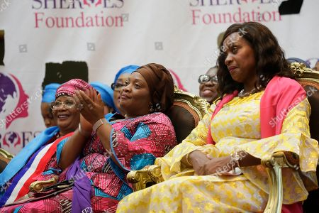 Stock Image of Clar Weah (R), Liberia's First Lady, Jowel Howard Taylor (C), Liberia's vice president,  and Joyce Banda (L), Former president of Malawi attends the official opening of the International Sheroes Forum 2018 at the Monrovia City Hall, Monrovia, Liberia, 17 October 2018. The International Sheroes Forum brings together leaders and personalities to discusses and bolster the influence of women on the African Continent and the World in general.