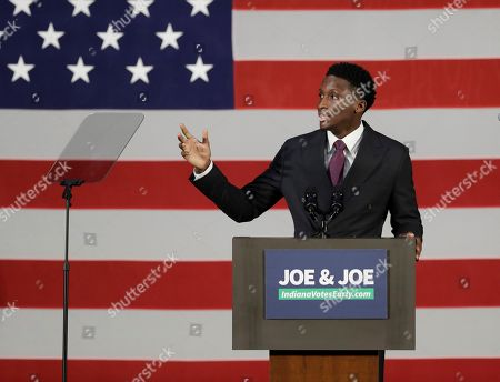 Stock Photo of Indiana Pacers' Victor Oladipo speaks during a rally for Democratic Sen. Joe Donnelly, in Hammond, Ind