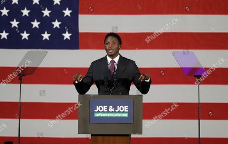 Indiana Pacers' Victor Oladipo speaks during a rally for Democratic Sen. Joe Donnelly, in Hammond, Ind