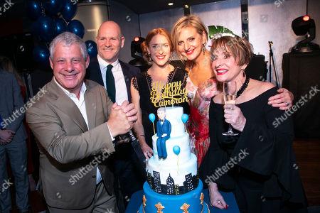 Cameron Mackintosh, Christopher Harper (Producer), Rosalie Craig (Bobbie), Marianne Elliott (Director) and Patti Lupone (Joanne)