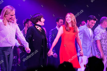Mel Giedroyc (Sarah), Patti LuPone (Joanne), Rosalie Craig (Bobbie) and Jonathan Bailey (Jamie) during the curtain call