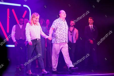 Mel Giedroyc (Sarah) and Gavin Spokes (Harry) during the curtain call
