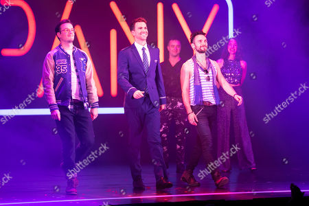 Matthew Seadon-Young (Theo), Richard Fleeshman (Andy) and George Blagden (PJ) during the curtain call