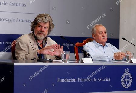 Italian Reinhold Messner (L) and Polish Krzysztof Wielicki, two climbing legends, offer a press conference in Oviedo, Spain, 18 October 2018. Messner and Wielicki will receive the Princess of Asturias Award of Sports 2018 in the Princess of Asturias Awards handover ceremony taking place in Oviedo on 19 October. The Princess of Asturias Awards are given every year to personalities or organizations from all around the world who make significant achievements in the sciences, arts, literature, humanities and sports.