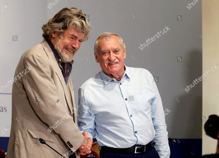 Italian Reinhold Messner (L) and Polish Krzysztof Wielicki, two climbing legends, pose during a press conference in Oviedo, Spain, 18 October 2018. Messner and Wielicki will receive the Princess of Asturias Award of Sports 2018 in the Princess of Asturias Awards handover ceremony taking place in Oviedo on 19 October. The Princess of Asturias Awards are given every year to personalities or organizations from all around the world who make significant achievements in the sciences, arts, literature, humanities and sports.
