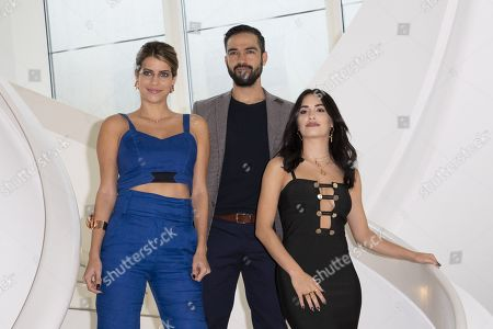 "(L-R) Maria Bopp (actress), Alfonso Herrera (actor), Lali Esposito (actress) for ""Talent Presented by FOX"""