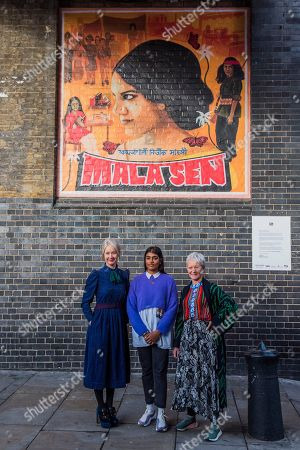 Justine Sehra, the artist, and her work, which features human rights activist Mala Sen, with Tate Director Maria Balshaw and Justine Simons, Deputy Mayor for Culture and Creative Industries