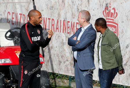 AS Monaco's new head coach Thierry Henry (L) and the club's vice president Vadim Vasilyev (C) during a training session at La Turbie, France, 18 October 2018.