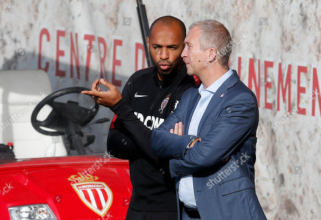 AS Monaco's new head coach Thierry Henry (L) and the club's vice president Vadim Vasilyev during a training session at La Turbie, France, 18 October 2018.