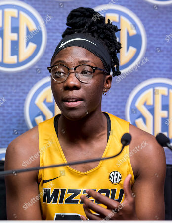 Missouri guard Amber Smith speaks with the media during the Southeastern Conference women's NCAA college basketball media day, in Birmingham, Ala