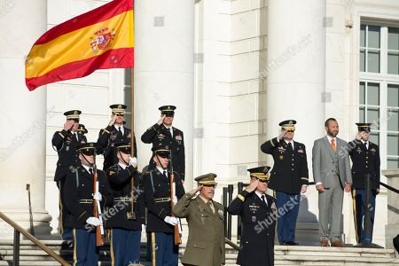 Chief of the Defense Staff of Spain General Fernando Alejandre Martinez (Bottom L) and Major General Michael Howard (Bottom R), commanding general, US Army Military District of Washington; salute during a wreath-laying ceremony at Arlington National Cemetery in Arlington, Virginia, USA, 18 October 2018. During an arrival ceremony at Joint Base Myer-Henderson Hall, the Spanish Chief of Defense was awarded the Legion of Merit military award by US Chairman of the Joint Chiefs of Staff Marine General Joseph Dunford.