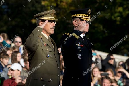 Chief of the Defense Staff of Spain General Fernando Alejandre Martinez (L) and Major General Michael Howard (R), commanding general, US Army Military District of Washington; salute during a wreath-laying ceremony at Arlington National Cemetery in Arlington, Virginia, USA, 18 October 2018. During an arrival ceremony at Joint Base Myer-Henderson Hall, the Spanish Chief of Defense was awarded the Legion of Merit military award by US Chairman of the Joint Chiefs of Staff Marine General Joseph Dunford.