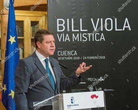 The President of Castilla la Mancha, Emiliano Garcia-Page, speaks during the presentation of the exhibition 'Via mistica' on US artist Bill Viola, in Cuenca, Spain, 18 October 2018.