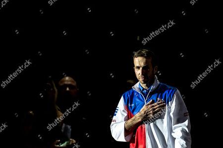 Czech tennis player Radek Stepanek arrives for his farewell exhibition match, which officially ends his career in Prague, Czech Republic, 18 October 2018.