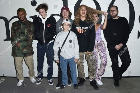 Na-kel Smith, from left, Ryder McLaughlin, Gio Galicia, Olan Prenatt, Alexa Demie, Jonah Hill and Sunny Suljic, center front,