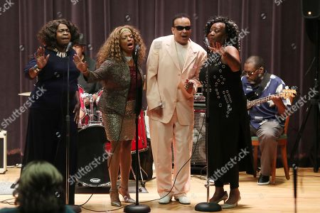 """Mary Robinson, Joan Belgrave, Mark Scott, Hazelette Crosby. From left, Mary Robinson, Joan Belgrave, Mark Scott of The Miracles and Hazelette Crosby perform in Detroit. The music of Motown still beguiles audiences around the globe. But the music of Stevie, Martha, the Supremes and Temptations doesn't get heard regularly and reliably in Detroit, the city of its birth. Joan Belgrave is among those out to change that: She's brought it to many venues and hopes to secure a place """"dedicated to the genre."""" She said what exists isn't enough for a city with such a sonic lineage and legacy"""