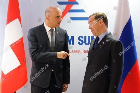 Swiss Federal President Alain Berset, (L), and Russian Prime Minister Dimitry Medvedev, (R), during a bilateral meeting at the Asia-Europe Meeting (ASEM), in Brussels, Belgium, 19 October 2018. Heads of state and governments from 51 European and Asian countries will discuss on the theme 'Europe and Asia: global partners for global challenges'.