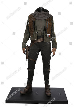 A Jyn Erso (Felicity Jones) exhibition costume display from Gareth Edwards' Star Wars prequel Rogue One: A Star Wars Story.