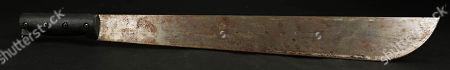 A replica of Jason Voorhees' (Kane Hodder) machete from John Carl Buechler's 1988 slasher film Friday the 13th Part VII: The New Blood.