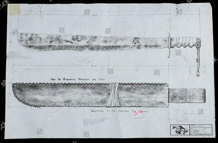 A printed drawing depicting Jason Vorhees' (Ken Kirzinger) machete from Ronny Yu's horror mash-up Freddy Vs. Jason.