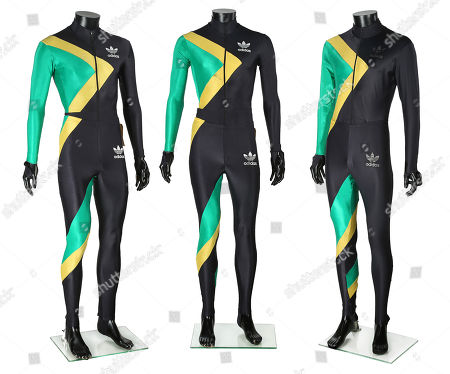 Jamaican Bobsled Team suits worn by Derice Bannock (Leon), Sanka Coffie (Doug E. Doug) and a stunt performer in Jon Turteltaub's comedy Cool Runnings.