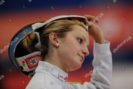 The GB pentathlete Freyja Prentice during a Women's Semi Final in the Fencing event.