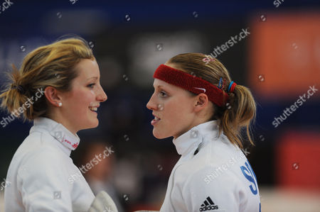 The GB pentathletes Freyja Prentice (left) and Mhairi Spence (right) during a Women's Semi Final in the Fencing event.