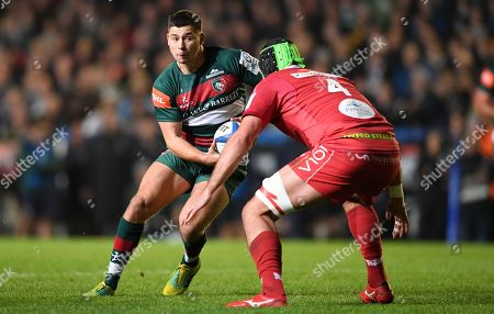 Ben Youngs of Leicester goes into contact with Tom Price