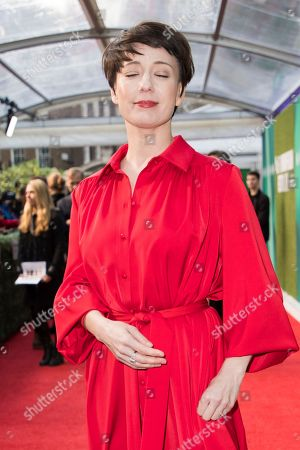 Chulpan Khamatova poses for photographers upon arrival at the premiere of the film 'The White Crow' showing as part of the BFI London Film Festival in London