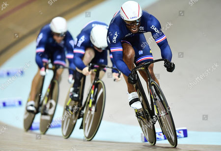 Stock Photo of Gregory Bauge, Sebastien Vigier and Michael D'Almeida of France compete in the Men's Team Sprint Qualifying.