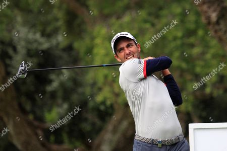 Italian golfer Edoardo Molinari tees off on the 11th hole during the second round of the Andalucia Valderrama Master golf tournament at Valderrama golf course in Cadiz, Andalusia, Spain, 19 October 2018.